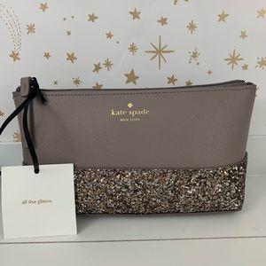 Kate Spade | Little Shiloh Gray Glitter Makeup Bag